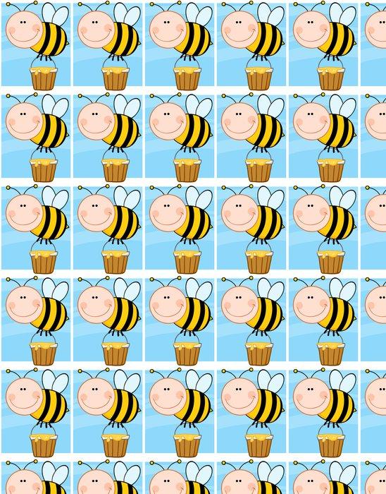 Vinylová Tapeta Šťastný Bee létání s Honey Bucket - Ostatní Ostatní
