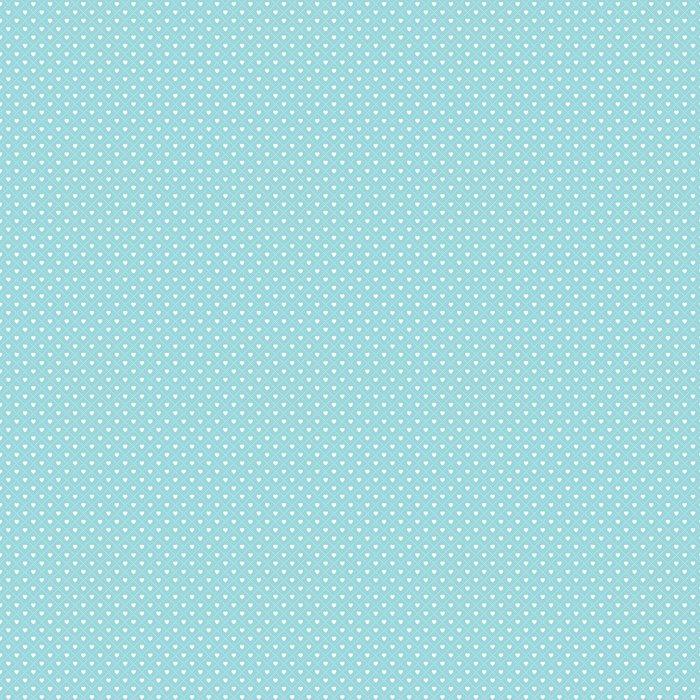 Cute Seamless Hearts Lattice Background Pattern Aqua White Vinyl Wallpaper