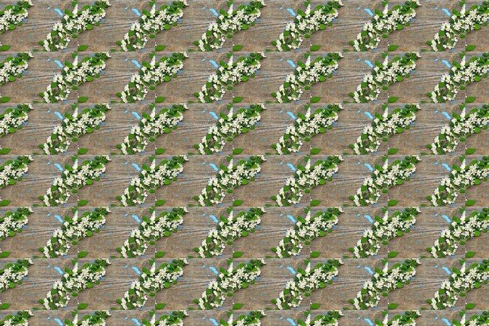 Vinylová Tapeta Rám kvetoucích větví na dřevěném pozadí - Pozadí