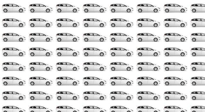 Vinylová Tapeta Studio Shot Of Three-Dimensional Bílá Sedan - Na cestě