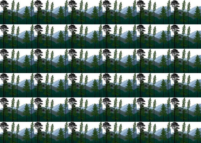 Vinylová Tapeta Green Pine stromy v horské krajině - Lesy