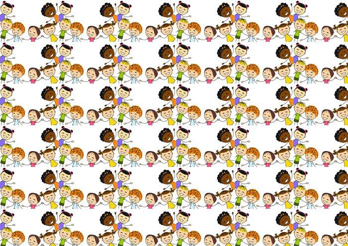 Vinyl Behang Schattige kleine kinderen op wit - Kinderen