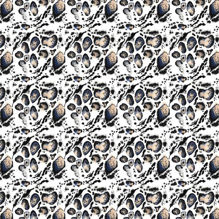 Vinylová Tapeta Seamless leopard malované tisk. Zvířecí vzorek kůže na bílém pozadí. Skvrny zvířat malované akvarelem ornament. - Grafika
