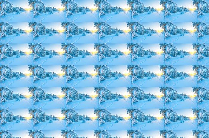 Vinylová Tapeta Západ slunce v zasněžených lesů - Roční období