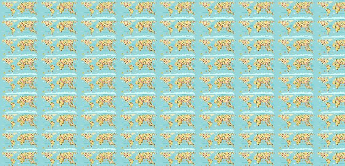 Vinylová Tapeta Ovoce mapa světa. A zelenina. Vektorové ilustrace, školka, dítě, světadíly, oceány, čerpané, Země. - Jídlo