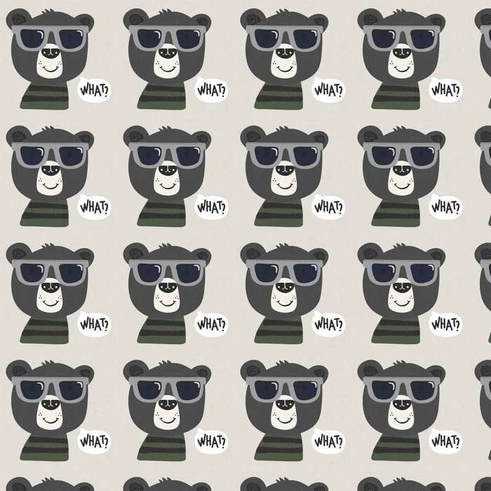 cool cartoon bear with sunglasses Vinyl Wallpaper - Animals