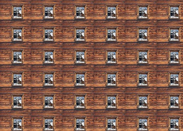Vinylová Tapeta Lyžařská chata v okně - Prázdniny