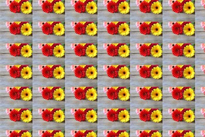flowers on a wooden background Vinyl Wallpaper - Flowers