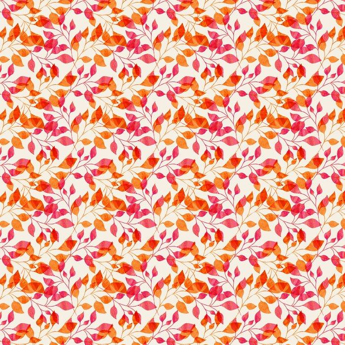 Vesiväri saumaton malli vaaleanpunaisella ja oranssilla syksyn lehdillä. Itsestäänkiinnittyvä tapetti - Tiede Ja Luonto