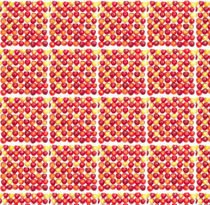 Vinylová Tapeta Řady červených a žlutých třešní na bílé - Témata