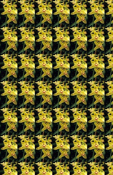 Papier peint à motifs vinyle Jaune cymbidium - Fleurs