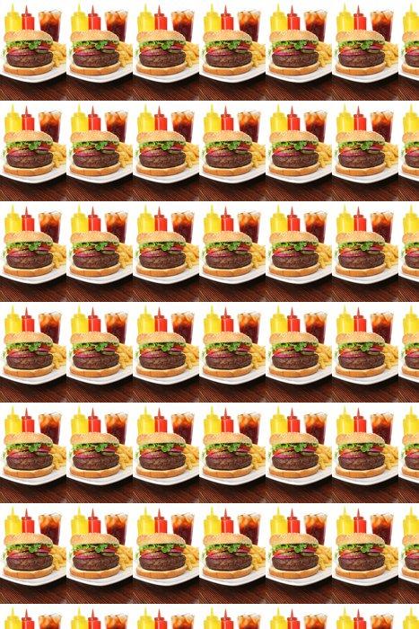 Vinylová Tapeta Hamburger podáváme s hranolky a sodu close-up - Témata