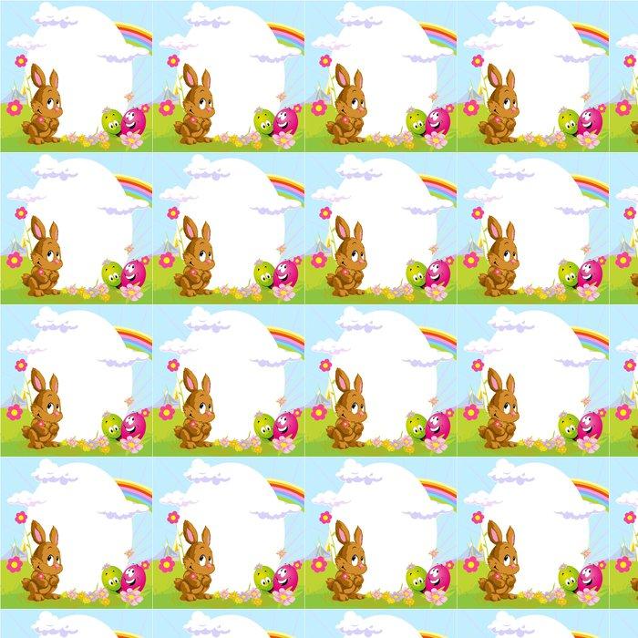 Vinylová Tapeta Velikonoční rám s králíček a šťastné vajec - Svátky