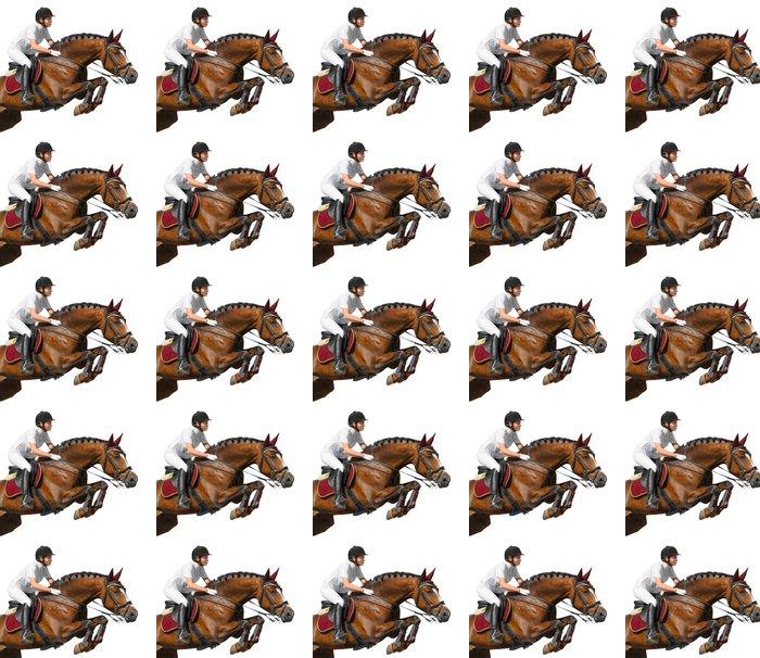 Vinylová Tapeta Mladá dívka skákání s koněm zálivu - Nálepka na stěny