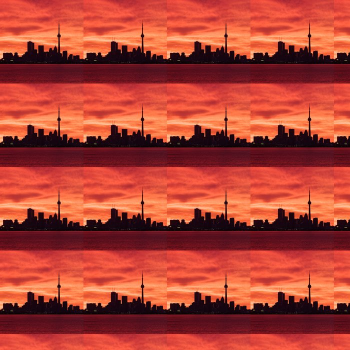 Downtown Toronto waking up to a fiery sky Vinyl Wallpaper - America