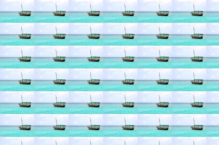 Vinylová Tapeta Dřevěná loď plovoucí na tyrkysové moře - Voda