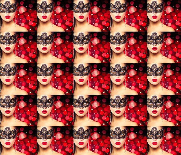 Vinylová Tapeta Žena na sobě karnevalová maska nad červeným pozadím - Mezinárodní svátky