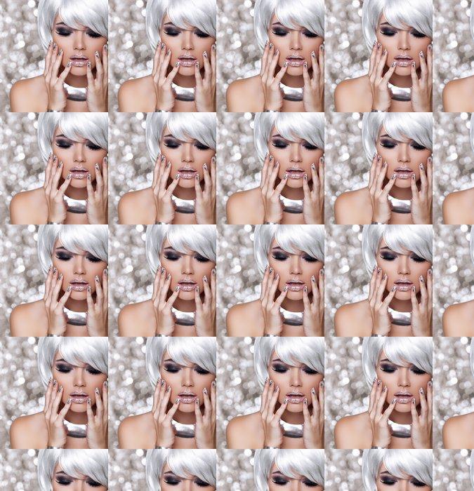 Vinylová Tapeta Módní Blond Girl. Krása portrét ženy. Bílé krátké vlasy. Iso - Móda