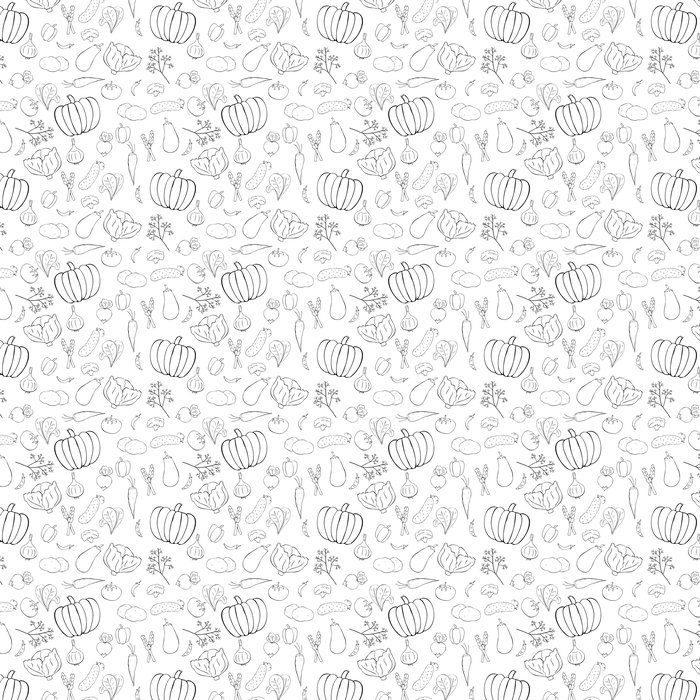 Seamless pattern with graphic vegetables Vinyl Wallpaper - Meals