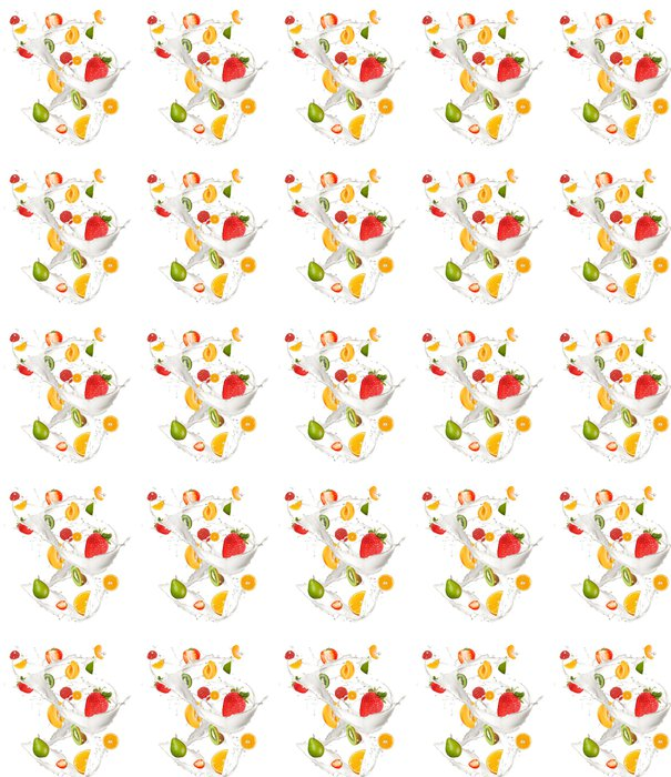 Mixed fruit in milk splash, isolated on white background Vinyl Wallpaper - Wall decals