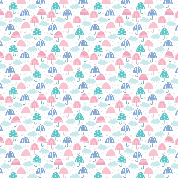Seamless Umbrella And Clouds Pattern Vector Illustration Vinyl Wallpaper
