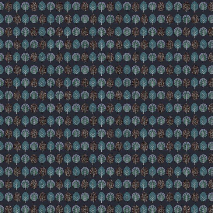 Vinylová Tapeta Listí bezproblémové vzor. Dekorativní přírodní pozadí s stromy. Skandinávský styl podzimního lesa vektorové ilustrace. Design pro textilní, tapety, tkaninou. - Rostliny a květiny