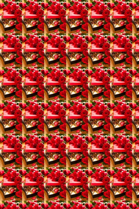 Vinylová Tapeta Krabice čokoládových pralinek s červenými růžemi - Mezinárodní svátky