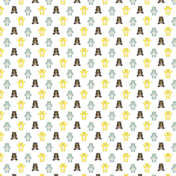 Cartoon Fun Baby Bears Seamless Pattern Yellow Brown And Blue Background