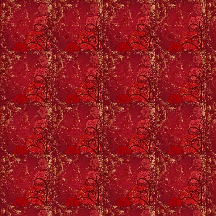 Vinylová Tapeta Krásná rohová viněta s červenou růží na staré pozadí - Pozadí