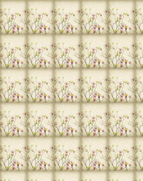 Vinylová Tapeta Květ magnólie s staré antické vinobraní papírové pozadí - Témata