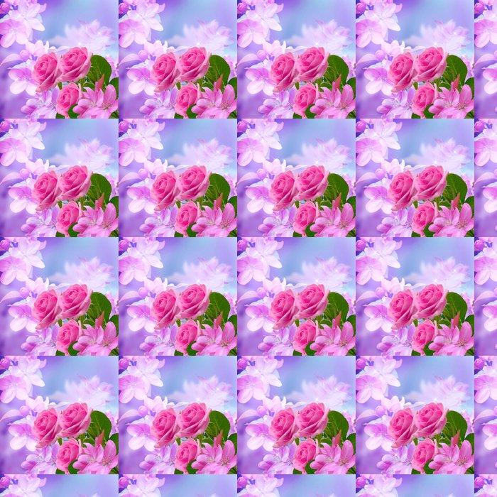 Vinylová Tapeta Třešně a růže květ - Květiny
