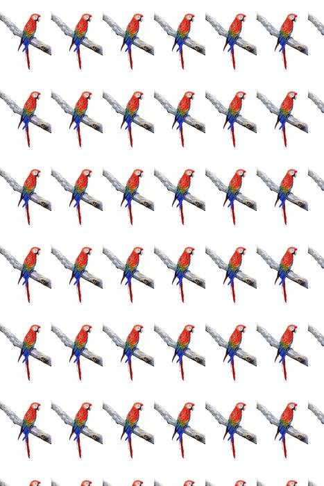 Vinylová Tapeta Papoušek pták sedí na bidýlku - Nálepka na stěny
