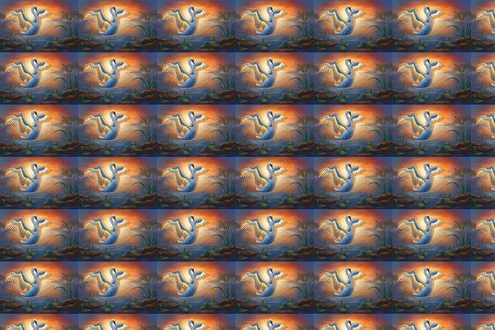 Vinyltapete Schwan auf dem Teich - Vögel