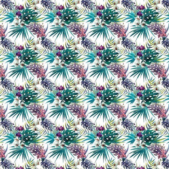 Vinyltapet Mönster orkidé hibiskus lämnar vattenfärg tropikerna - iStaging