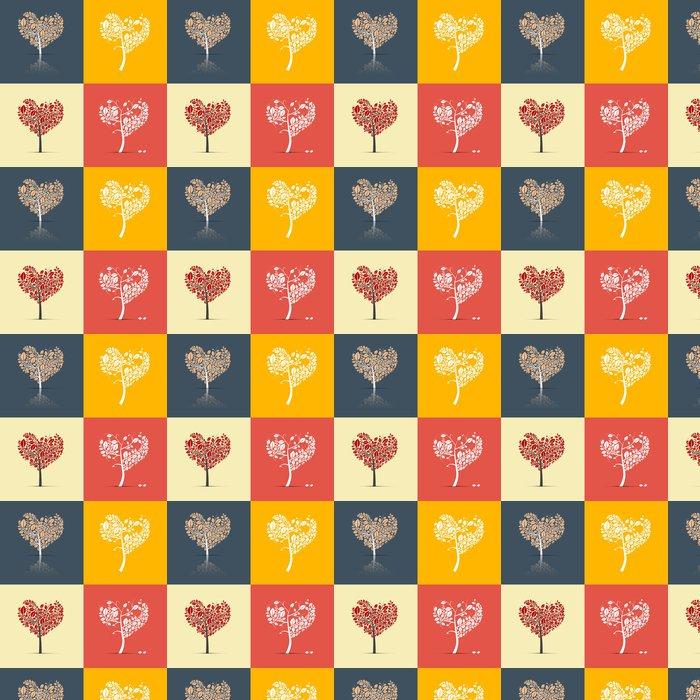 Vinylová Tapeta Abstrakt ve tvaru srdce Stromy na retro pozadí - Roční období