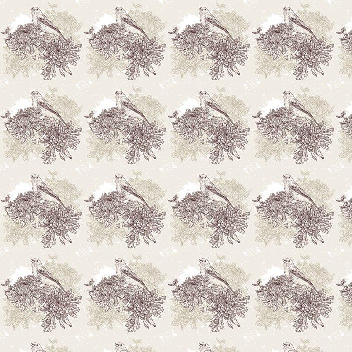 Vinylová Tapeta Květiny s ptačí ilustrace - Zemědělství