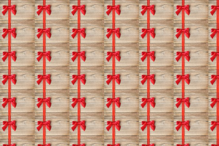 Schleife in Rot auf Holz Vinyl Wallpaper - International Celebrations