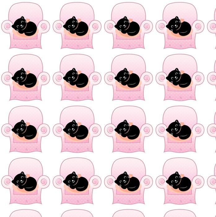Vinylová Tapeta Roztomilý spící Kočka na růžovém pohovka izolovaných na bílém - Přírodní krásy