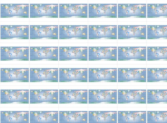 Vinylová Tapeta Podrobná mapa světa s názvy zemí, vektor izolovaný g - Značky a symboly