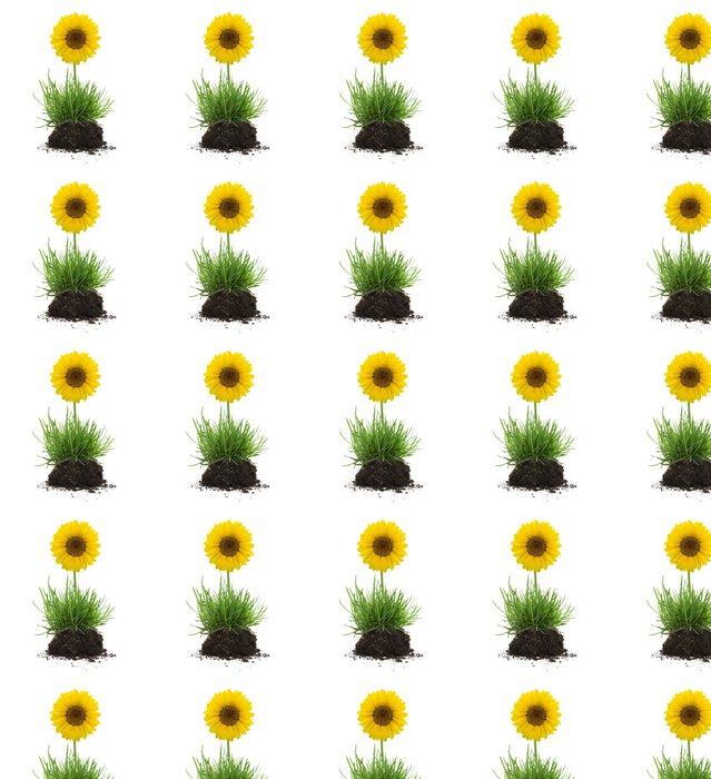 Vinylová Tapeta Trs trávy s půdou a slunečnice - Rostliny