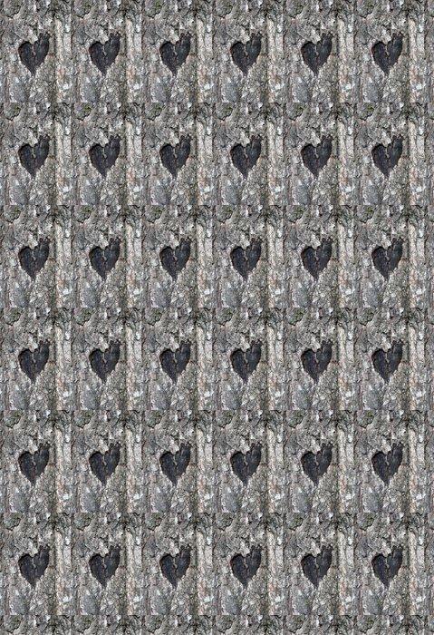 Vinylová Tapeta Stylizovaný symbol lásky na kmen břízy - Štěstí