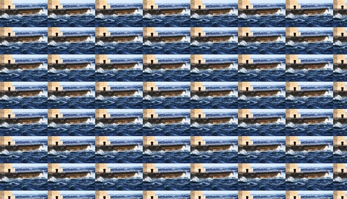 Vinylová Tapeta Obrázek představuje maják, když fouká silný vítr - Voda