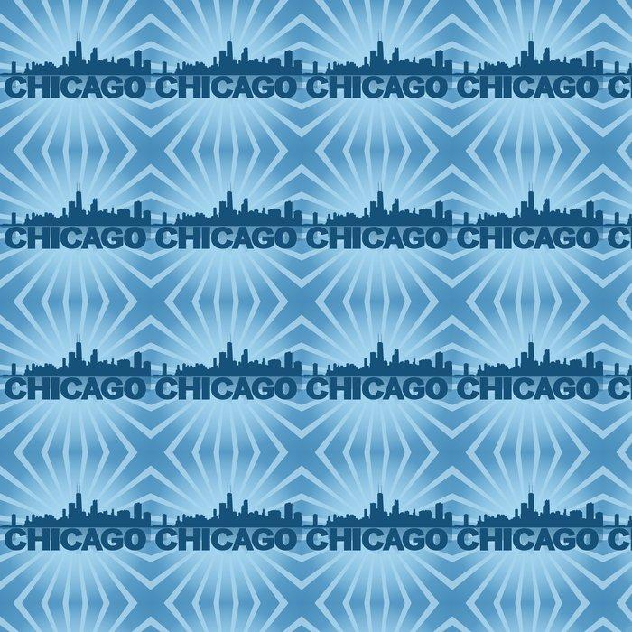 Vinylová Tapeta Chicago panorama odráží s modrým sunburst ilustrační -