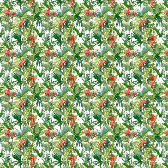papier peint motifs feuilles de palmiers tropicaux et fleurs jungle feuilles fond de motifs. Black Bedroom Furniture Sets. Home Design Ideas