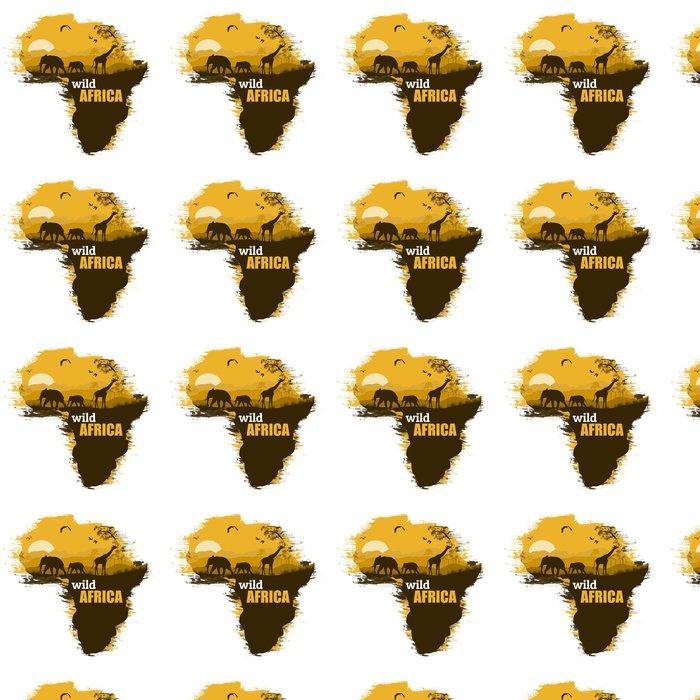 Vinylová Tapeta Wild Africa grunge plakát pozadí, vektorové ilustrace - Pozadí