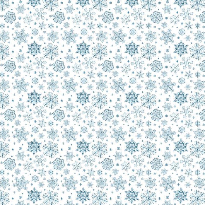 Vinylová Tapeta Vánoční bezešvé vzor tmavě modré sněhové vločky - Témata