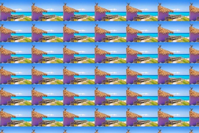 Vinylová Tapeta Formentera tropické fialové chata na pláži tyrkysové - Prázdniny