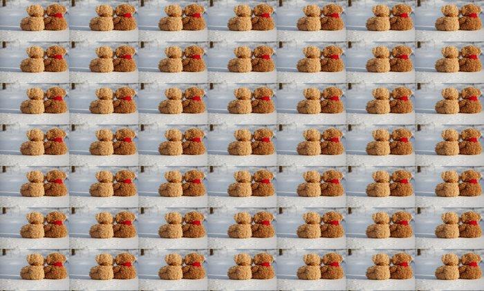 Vinylová Tapeta Dva medvídky na sněhu kolem sebe - Štěstí