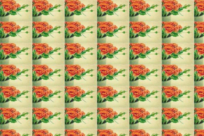 Vinylová Tapeta Klasické oranžové růže - Květiny