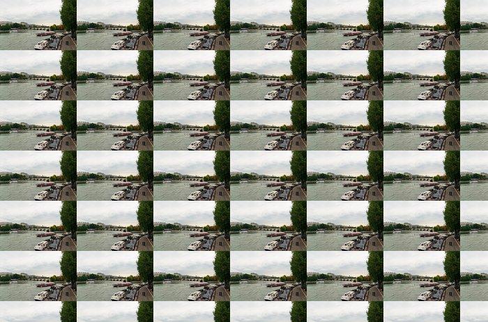Vinylová Tapeta Seině v Paříži při zatažené obloze - Evropská města